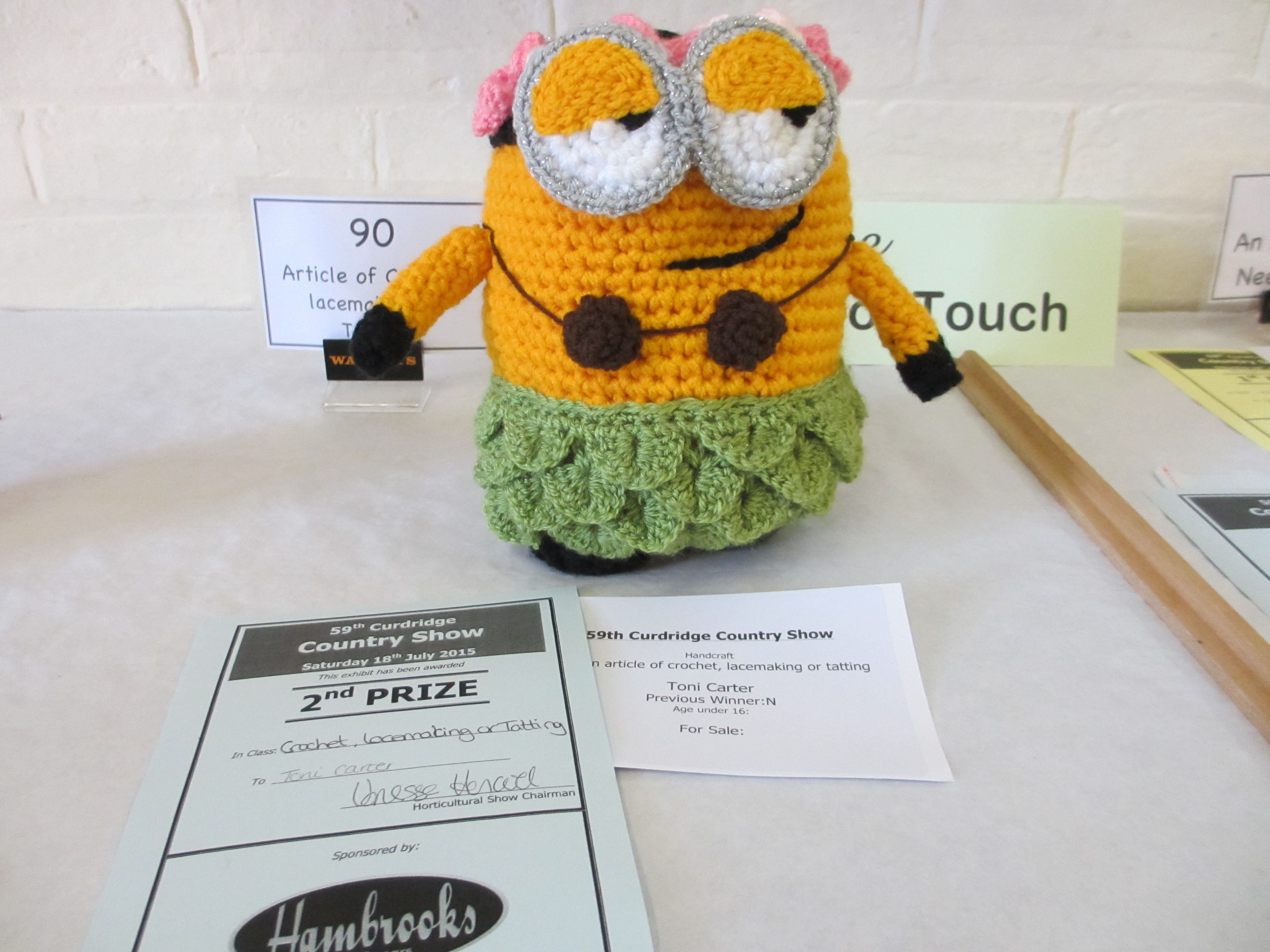 Article of Crochet & Winner of most popular exhibit
